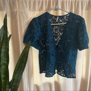 Free People Lace Peplum Button Up Top